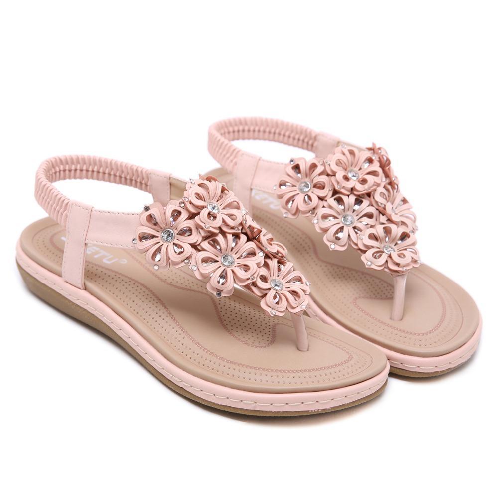 2019 Belle À Plate Femmes Style Ethnique Eau Chaussures Diamant Fleur Nouveau Confortable Semelle Gratuite Bohême Sandales Goxpcer Livraison De v8n0OmwN