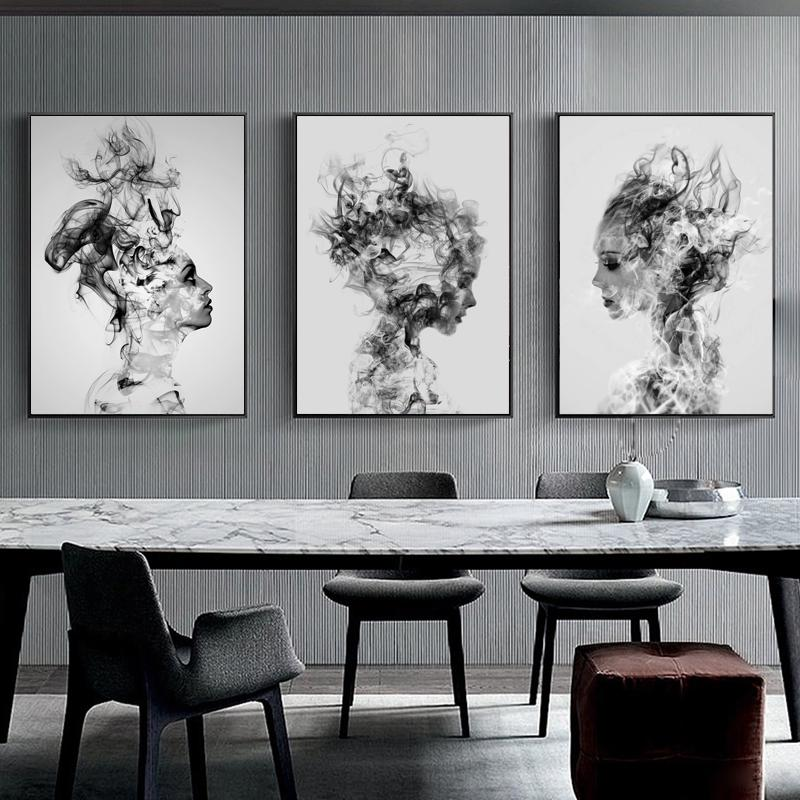 3pcs/set Modern Abstract Cloud Smog Girl Portrait Canvas Art Painting, Black And White Wall Art Canvas Poster Nordic Minimalist Wall Picture