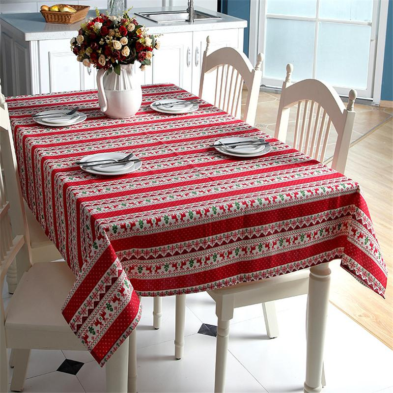 Christmas Tablecloths.Christmas Tablecloth For Table Decor Snowflake Polyester Cotton Xmas Tree Red Deer Table Cloth Rectangular Microwave Oven Cover