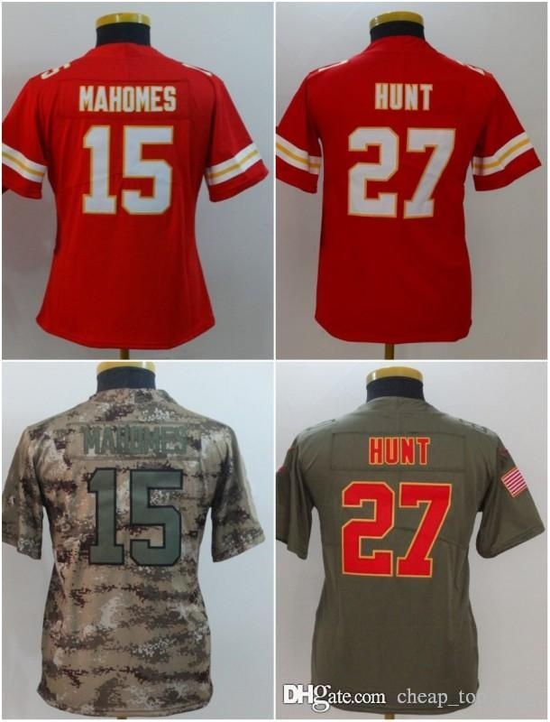 new product d63bb c1b2f Youth Kansas City Jerseys 15 Patrick Mahomes II 27 Kareem Hunt Chiefs Camo  Salute to Service Limited Stitched Kids Size S-XL