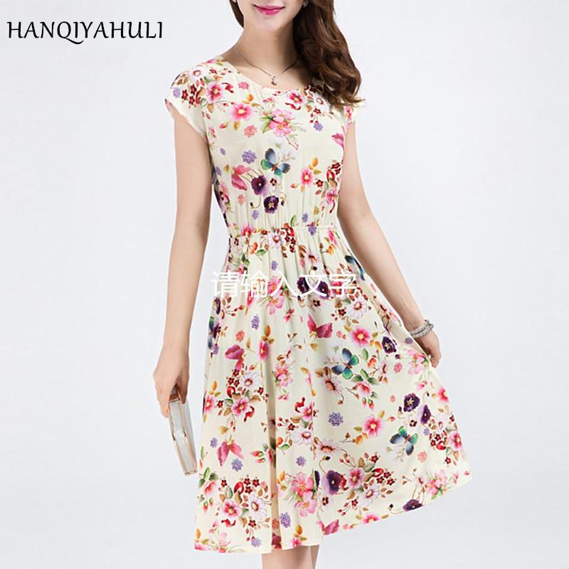 Xl-6xl 2018 Plus Size Clothes New Style Women Dress Colors Casual Sexy Round Neck Butterfly Flowers Beach Dresses Vestidos J190511