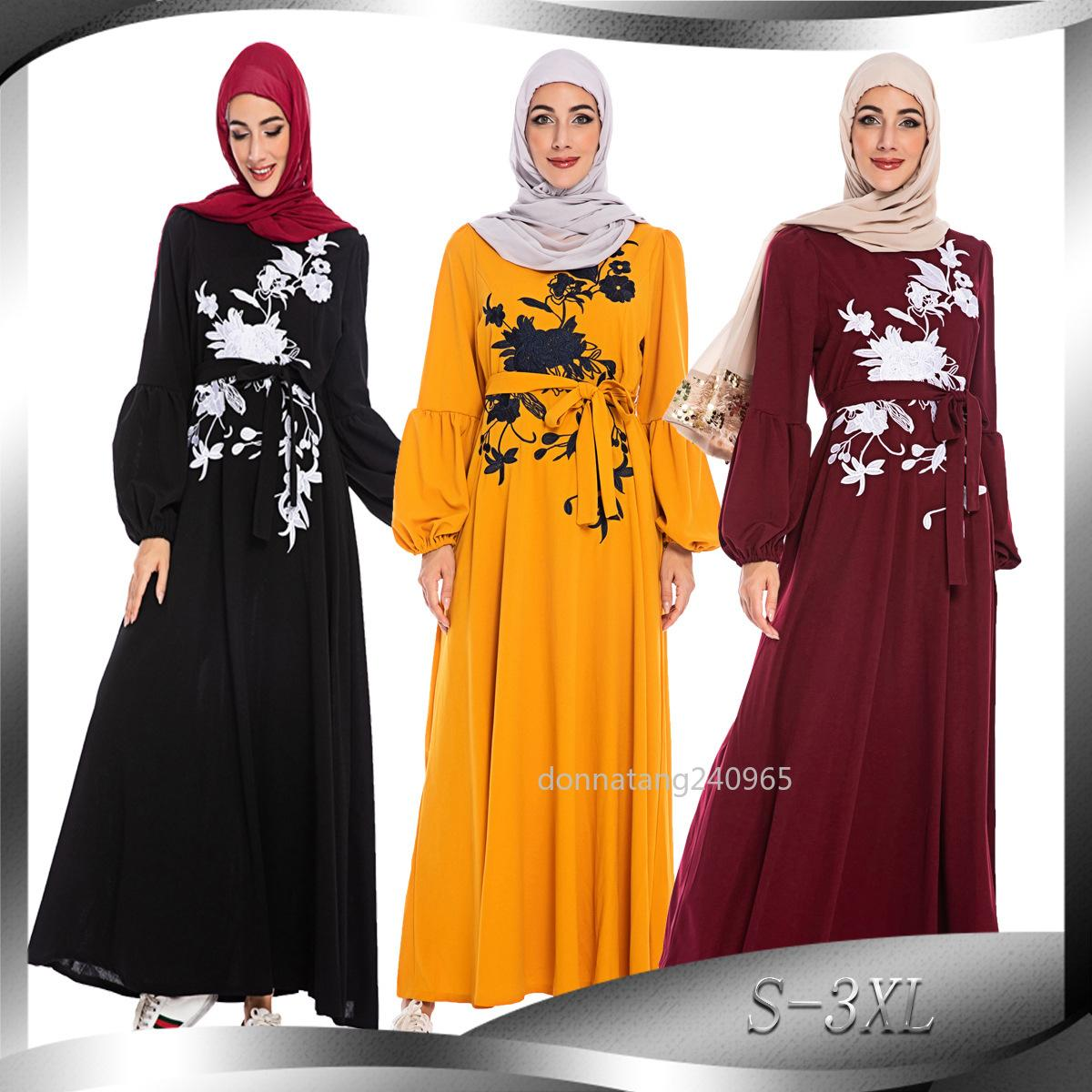 CM6214 Muslim Abaya Muslim Middle East Maxi Dress Trumpet Abaya Robe Gowns Embroidered big pendulum Women Muslimah abaya dubai Cothes