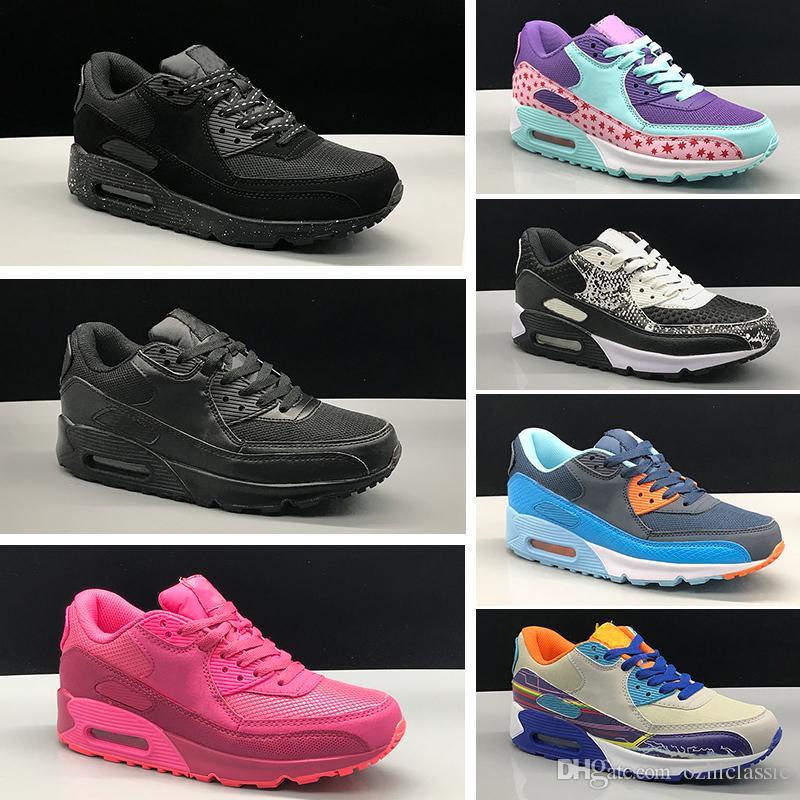 3b4034789 Compre Nike Air Max 90 Calzado Para Niños Clásico Para Niños 90 Vt  Zapatillas Para Correr Para Niños Y Niñas Negro Rojo Blanco Entrenador  Deportivo Cojín ...