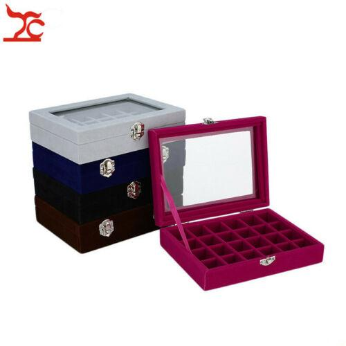 Jewelry Display Box Velvet Storage Box Glass Lid Jewelry Box Velvet Display Organizer Ring Necklace Case 24 Grids Tray