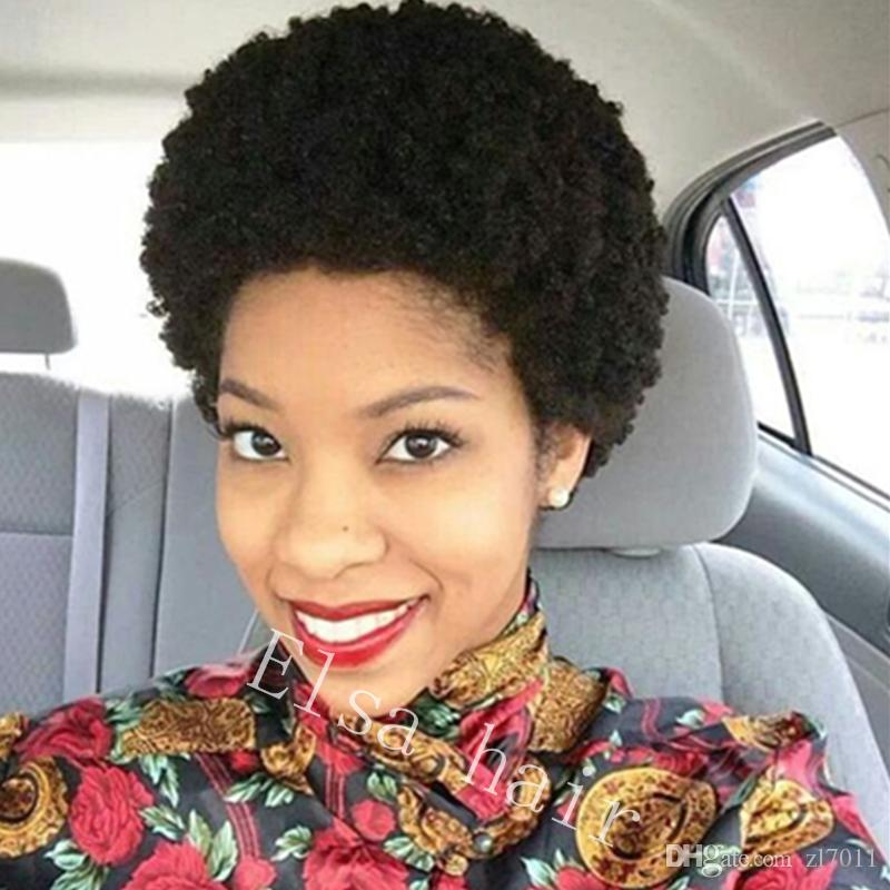 Afro Kinky Curly Ombre Black Color Human Hair None lace Wigs For Africa American Women Brazilian Non Remy Short Bob Hair Wig