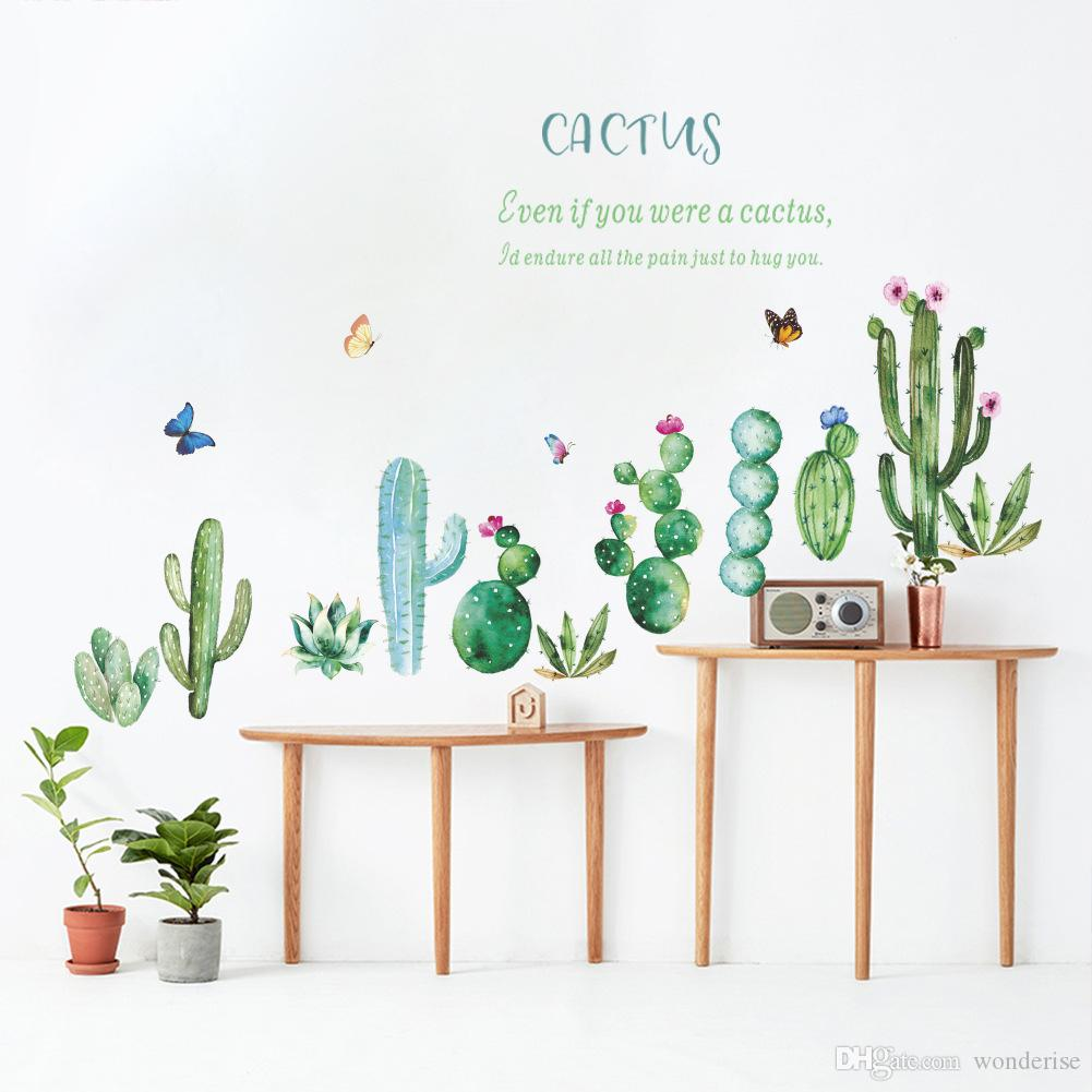 Watercolor Painting Desert Plant Cactus Vibes Wall Sticker For Modern Home Decal Bedroom Living Room Decorative Stickers