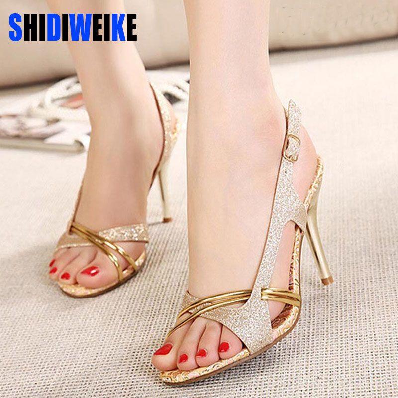 6dc35cef7a SHIDIWEIKE Women Sandal Thin High Heels Sandals Gold Ladies Summer Shoes  Gladiator Heels open toe Hollow Out Bling Glitter PU