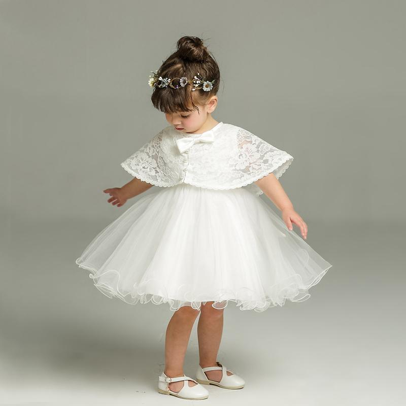 d2deee000898f Newborn White Dress For Baptism Sleeveless Baby Girl Lace Christening Gown  Dress Toddler 1st Birthday Party Infant Costumes J190506