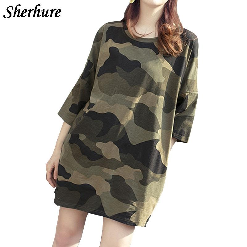 2018 Harajuku T Shirt Women Half Sleeve O-Neck Camo Print Loose Long T Shirts Summer Tees Femme Streetwear Casual Tops Plus