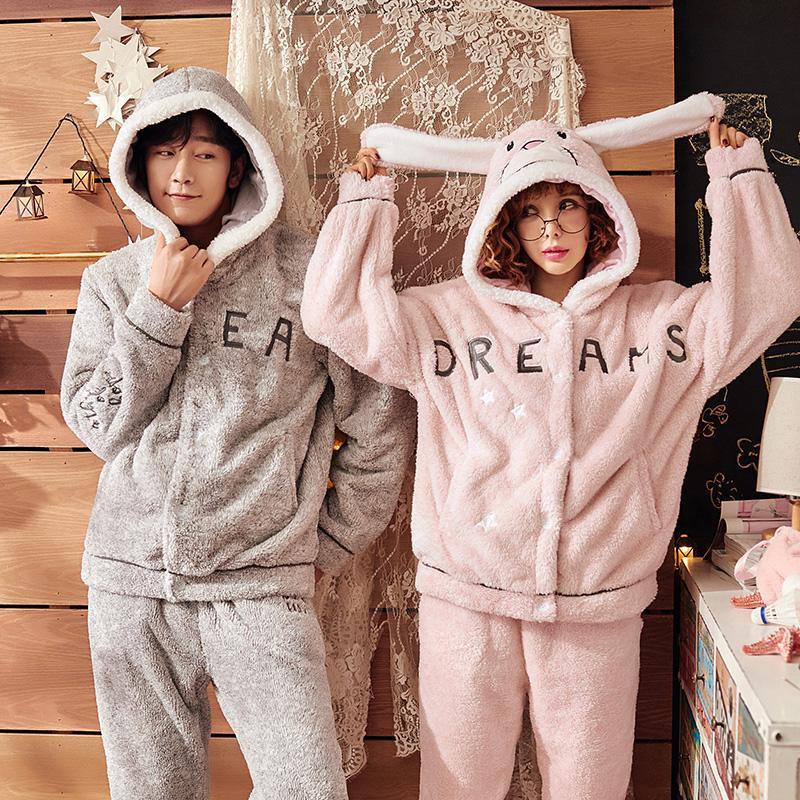 fbc833825d1f48 Novo pijama casal pijamas de inverno quente de flanela com capuz estilo  bonito pijama quente sleepwear ternos amante pijama moda pijama femme