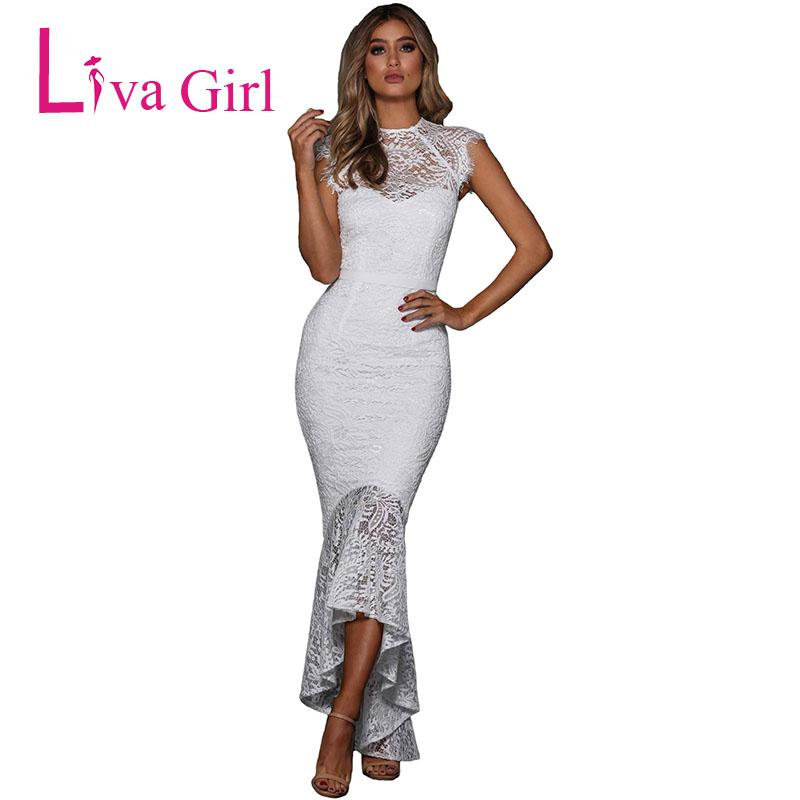 Wholesale Elegant Evening Lace Mermaid Dress Women Pink Embroidered Sexy  Bodycon Party Maxi Dresses Longue Robe Vestidos Longo Ladies Nice Dresses  Green And ... b1e9ca340