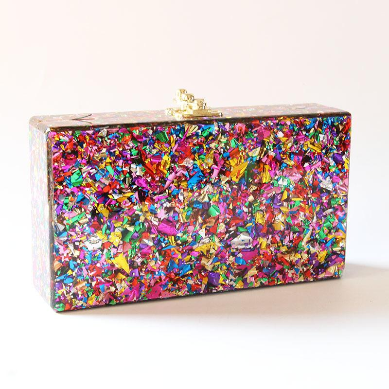 2018 Colorful Color Acrylic Box Clutches Women Messenger Shoulder Day Clutches Lady Fashion Glitter Flap Shell Nice Acrylic Bags J190513