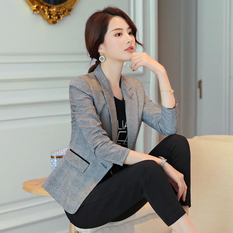 Compre 2019 Vintage Office Ladies Plaid Blazer Primavera Otoño Traje De  Pata De Gallo De Manga Larga Abrigo Chaqueta Ol Business Workwear Mujer  Tops A ... b045cd2fa19