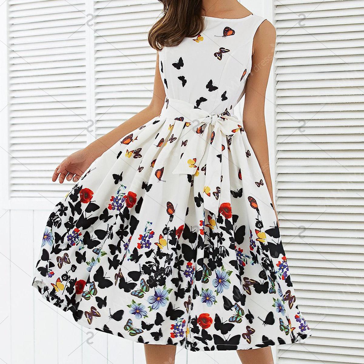 56415cff2a3a Nuevo 2017 Moda Mujer Mariposa Floral Vintage Plisado Swing Vestidos Verano  Sin Mangas Cremallera Fajas Vestido Retro Vestidos de Fiesta