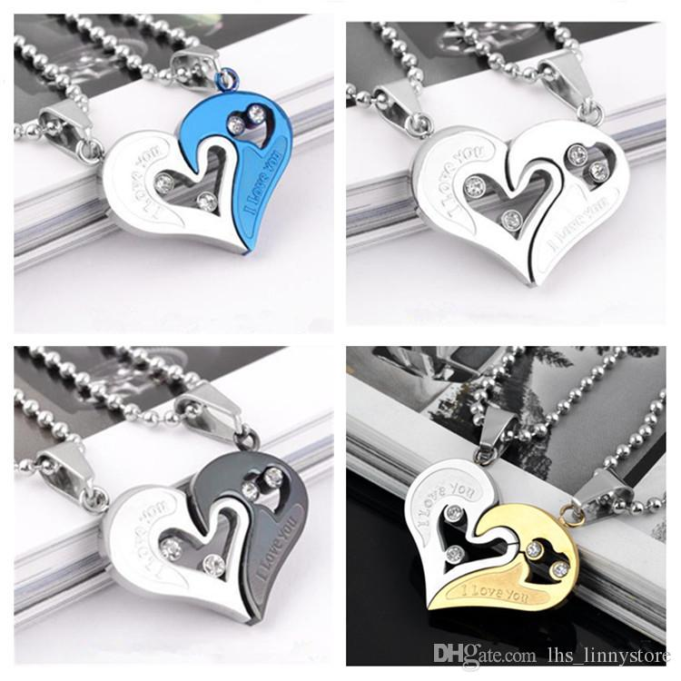 Fashionable wholesale Hot style heart shape necklaces I love you stamped for lovers couples pendant necklaces