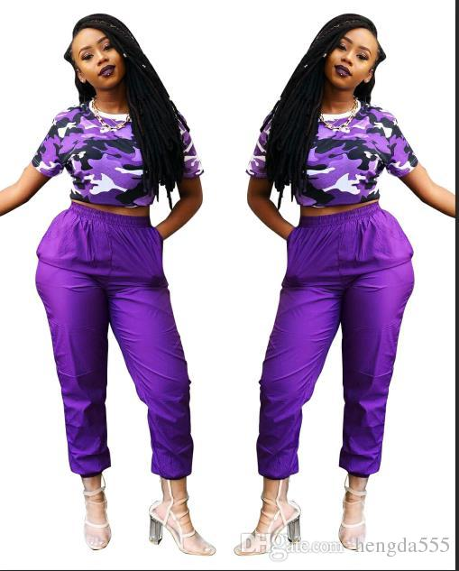 36314a2bd35d 2019 Tracksuit 2019 Women Clothes New Purple Camouflage Top Beam Trousers  Sweatsuit Two Piece Sets Plus Size Ladies Casual Dresses From Hengda999