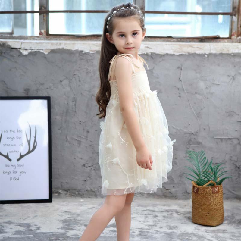 167e648c80392 Satın Al Yaz Kız Parti Elbise Kızlar Için Dantel Çiçek Düğün Örgü ...