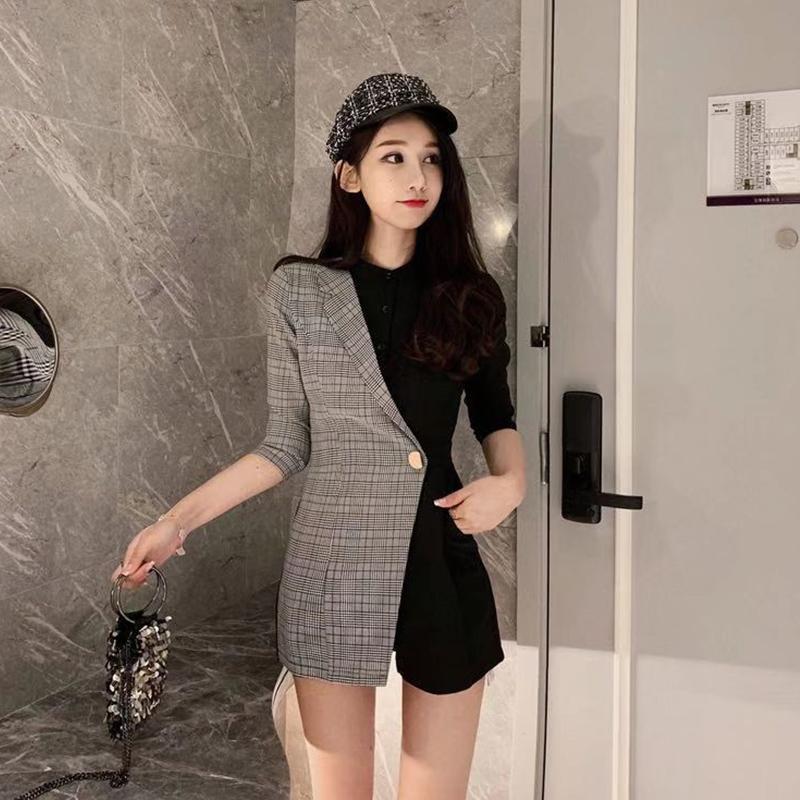 reputable site d86b1 9c020 Giacca donna casual 2019 Giacca lunga donna casual Abbigliamento moda  coreano Nero Grigio Patchwork Colore Mezza manica Top