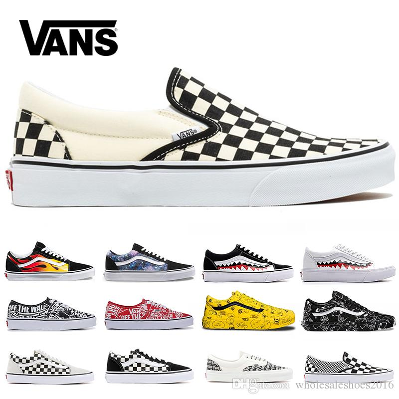 6fbc3cba Cheap Vans Old Skool Men Women Canvas Sneakers Black White Red Blue Fashion  Trainers Skate Casual Shoes Size 36-44 Online Sale