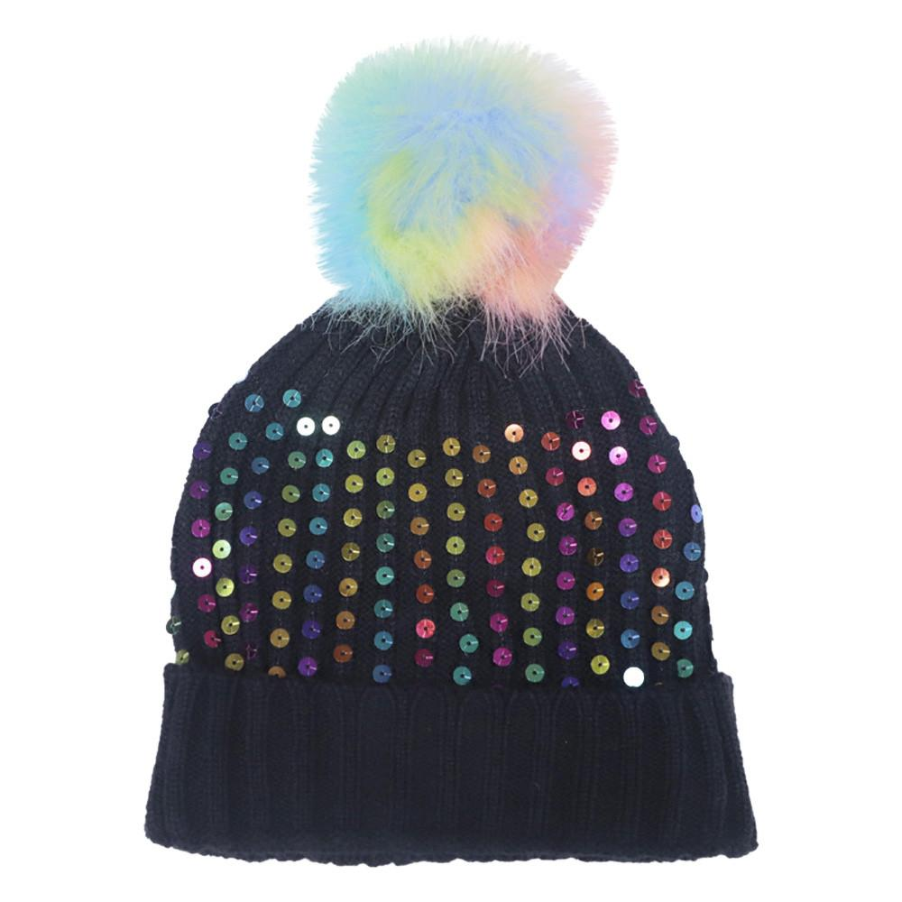 f5a33c32d63 Women S Fashion Colorful Hair Ball Colorful Beads Autumn And Winter Knit  Hat Winter Korean Style Hats Carhart Bonnet Femme Black Baseball Cap  Knitted Hats ...