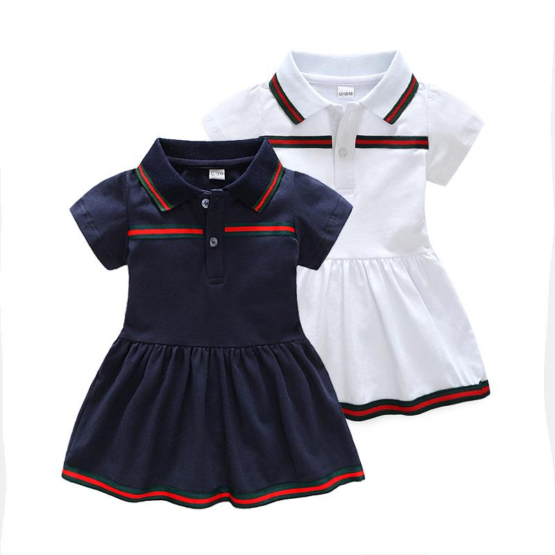 Retail Baby Girl Dress 2019 Summer Girls Dresses Style Infant Dress Hot Sale Baby Girl Clothes Summer Solid Color Dress Low Price