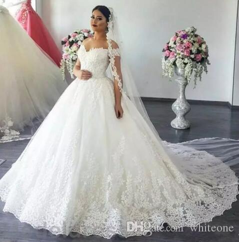 2019 New Styles A-Line Wedding Dresses Off Shoulder Sweep Train lace Appliques Garden Chapel Bridal Gowns Arabic vestido de novia Plus Size