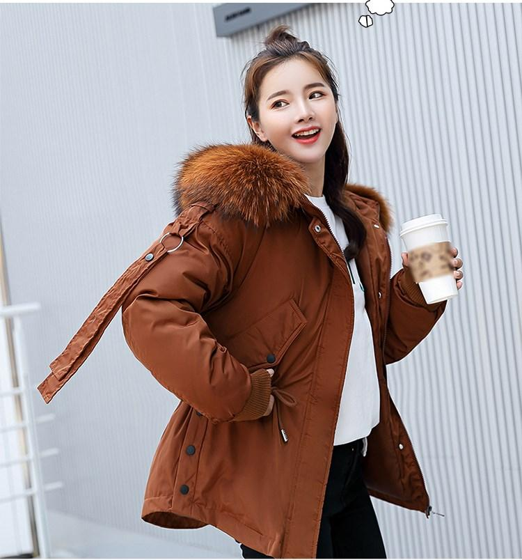 2018 Winter Women Casual Cotton-padded Jacket Coat Fashion Fur Collar Coat Women Jacket Solid Womens Parka Outerwear