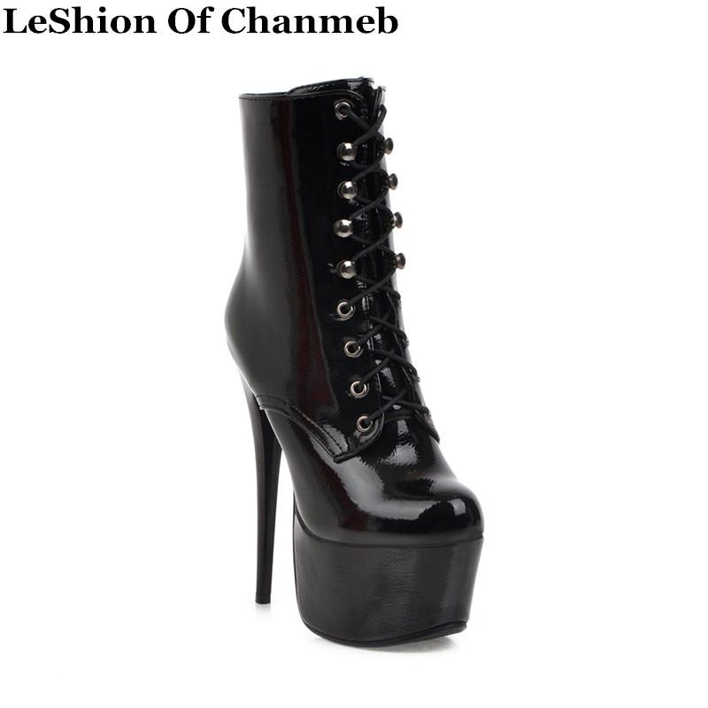 16cm heel extreme high heel patent ankle boots lace up sexy fetish pole dance platform boots ladies party shoes woman plus size