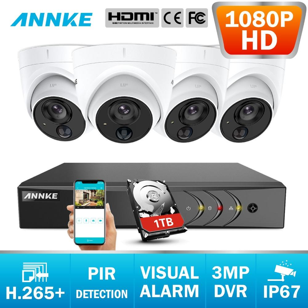 ANNKE CCTV Camera System 8CH 3MP 5in1 H.265+ DVR And 1080P HD Weatherproof Dome Cameras PIR Detection Flashing Light Alarm
