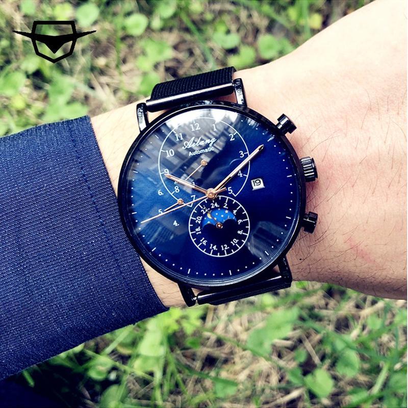 f31f7d729e8ff Satın Al AILANG ÜST Lüks Marka Safir Cam Erkek Saatler, Sarma Otomatik  Mekanik Reloj İsviçre Dişli Kılıf Köpekbalığı Minimalizm Izle, $89.8 |  DHgate.Com'da