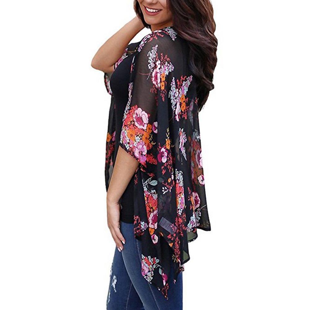 2018 mais novo Mulheres Chiffon Cover-Up Floral Xaile Cardigan Plus Size Tops Biquíni encobrir Blusa Beachwear Roupa