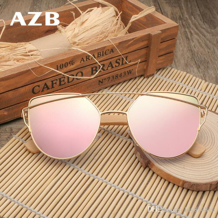 a80ea86f86 HDCRAFTER Brand Sunglasses Radiation Protection Glasses Bamboo Frame Color  Plating Film Outdoor Ultraviolet-proof Sunglasses