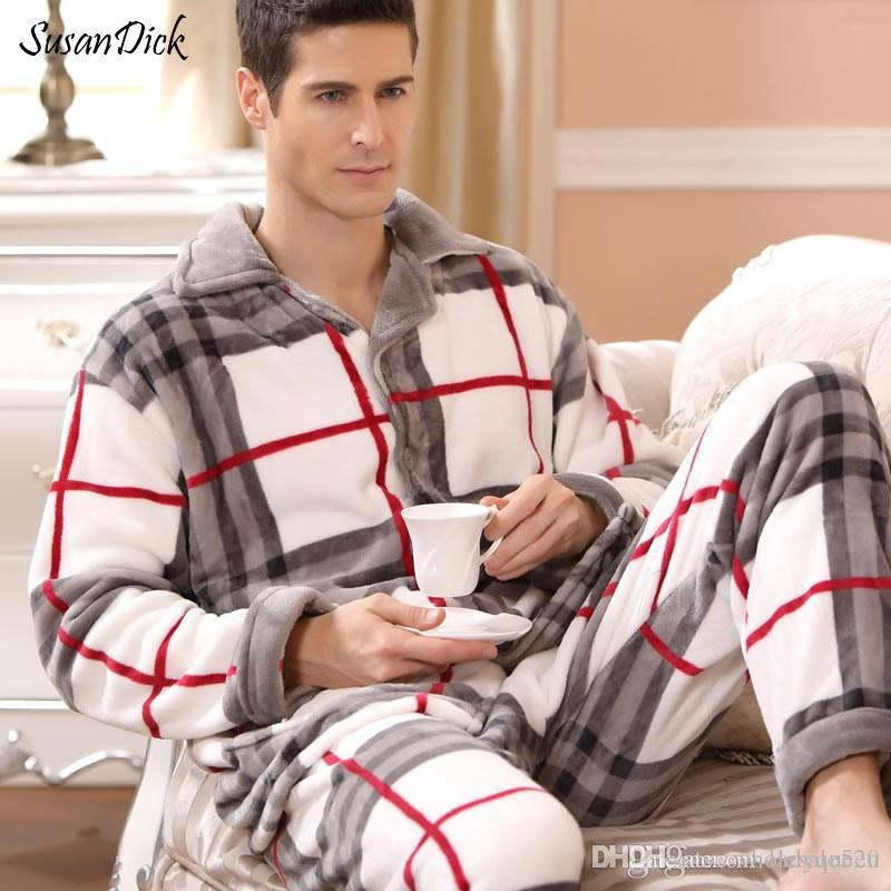 e06564efd 2019 SusanDick 2017 New Winter Pajamas Men Thick Fleece Pajama Sets Luxury Warm  Sleepwear Plaid Suits Man Casual Home Clothes Pijama From Ladyqueen, ...
