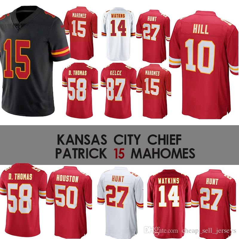 premium selection 19890 afddc 14 Sammy Watkins Chiefs jerseys 15 Patrick Mahomes Jersey 50 Justin Houston  72 Eric Fisher 58 Derrick Thomas 29 Patrick Mahomes