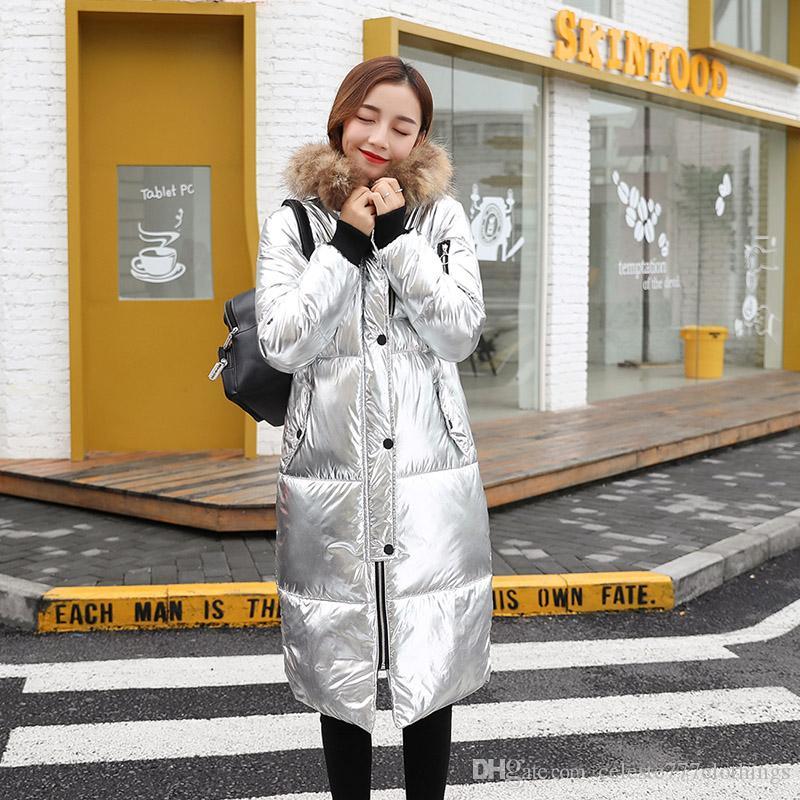 9832d946ffec 2019 Womens Winter Jacket Fashion Raccoon Fur Collar Warm Down Parkas Gold  Luxury Outwear Casual Coats Canada Womens Designer Jacket From ...