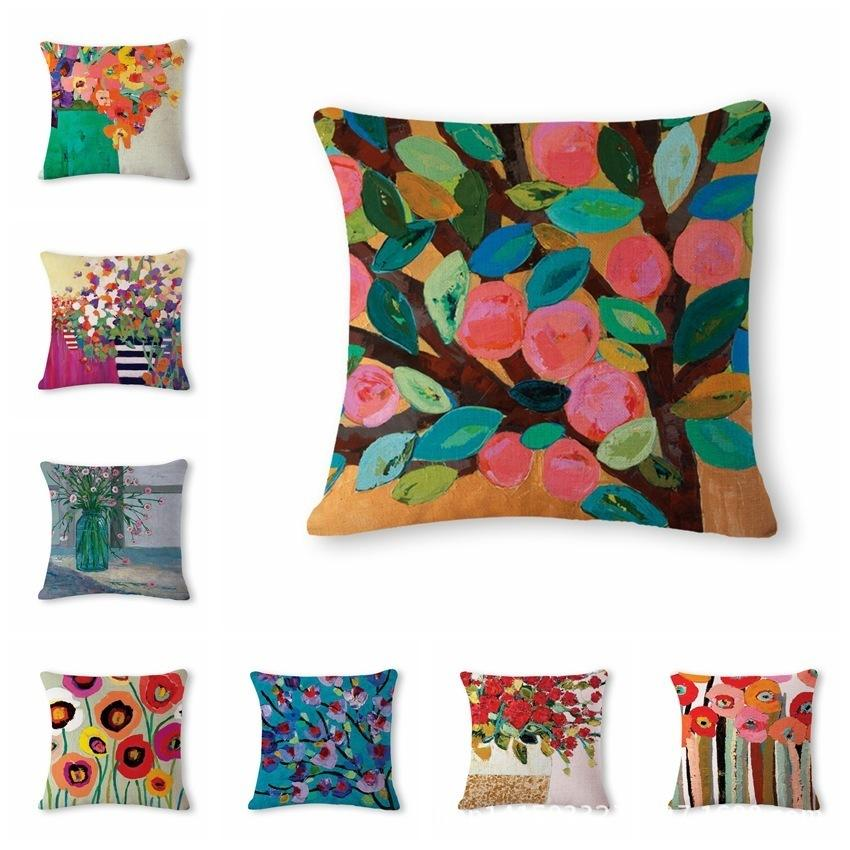 Beautiful Oil Painting Flower Pattern Cotton Flax Pillow Back Cushion