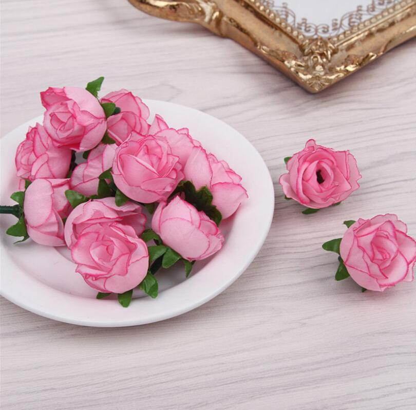 10 pcs Artificial Fake Rose Flower Head 3cm Silk Floral Wedding Party Bridal Bouquet Home Decoration DIY Wreath Scrapbook Gifts