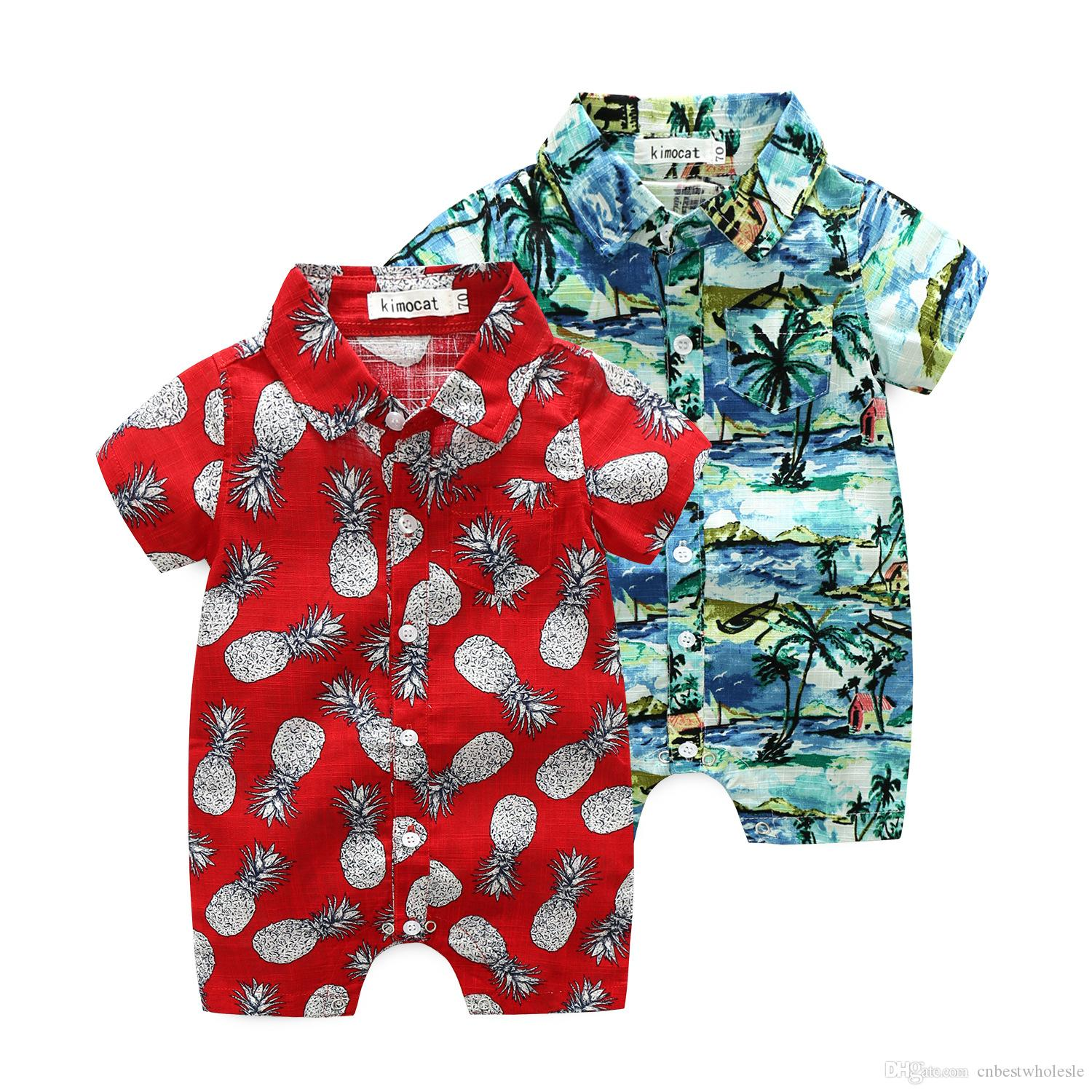 78b57dc3d5c4 2019 Baby Boy Clothes Boy Printed Flower Rompers Kids Summer Fashion ...