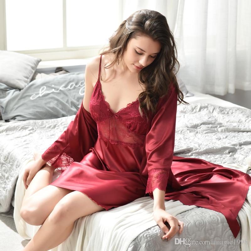 2598f2aa2e 2019 Xifenni Faux Silk Sleeping Robe+Nightdress Female Two Piece Bathrobe  Sets Sexy Ice Silk With Chest Pad Thin Sleepwear Woman 2821 From Magic1998