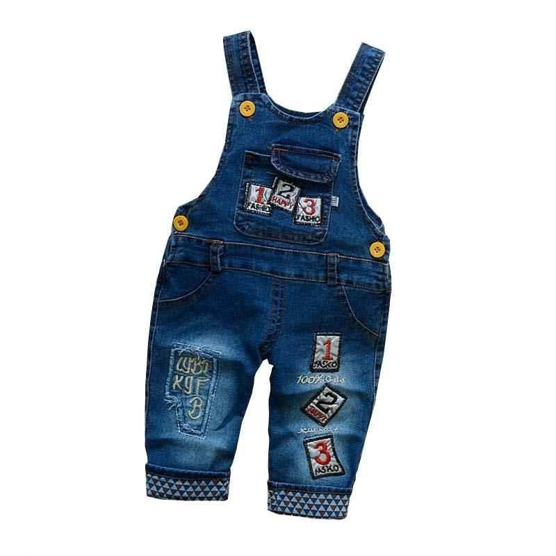 BibiCola Spring Autumn Children Pants Baby Jeans Overalls Boys Girls Pants Denim Causal Kids Trousers For Baby Boy Girl Clothes