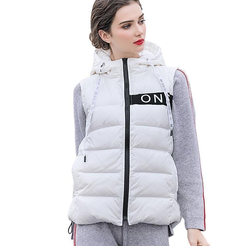 a8b2cfcbe3bb7a Großhandel 2019 Winter 90% Weiße Ente Daunenjacke Weste Damen Kurze  Daunenjacke 2018 Neue Mode Schlank Mit Kapuze Puffer Feder Mantel Weibliche  HJ79 Von ...
