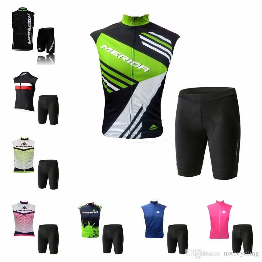 Quick drying MERIDA team Cycling Sleeveless jersey Vest shorts sets Breathable Quick drying Comfortable Outdoor Sports X70209