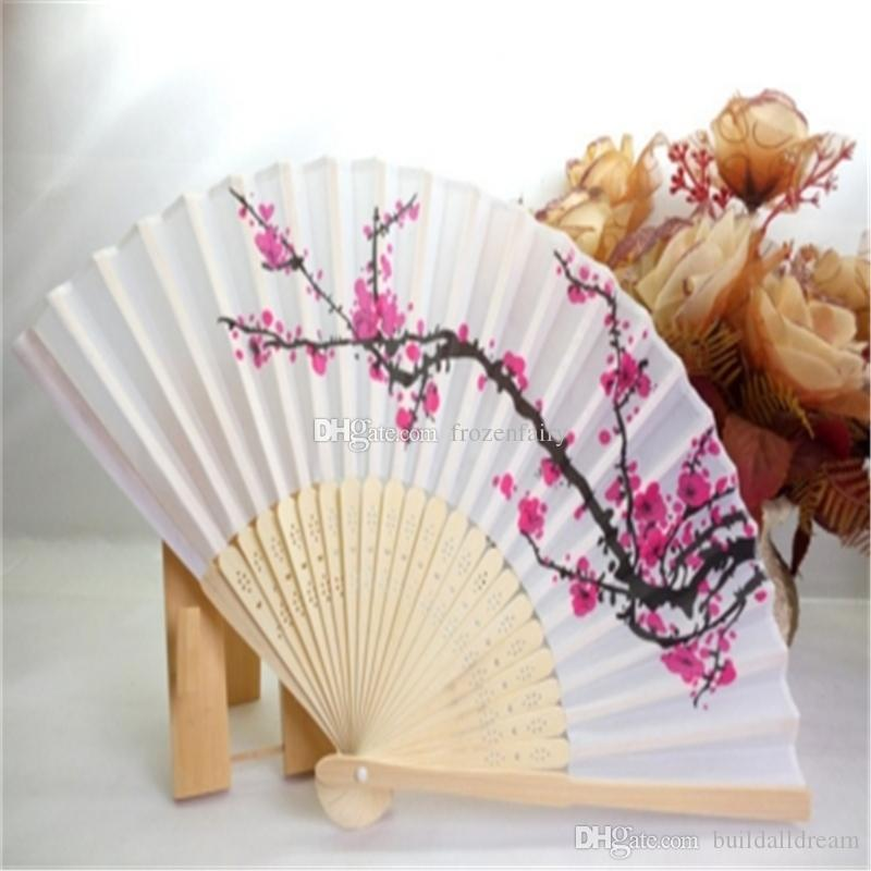 100pcs/lot cherry blossom silk hand fan wedding favor plum blossom hand folding fan wintersweet DHL Fedex Free Shipping a309-a318