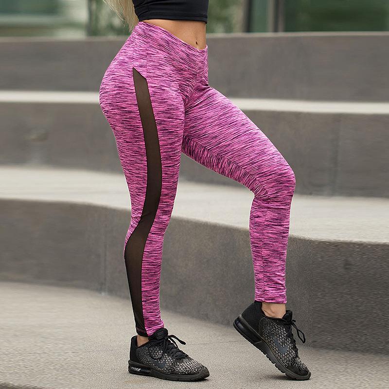 Fashion Fitness Leggings Women High Waist Breathable Mesh Leggings Exercise Ladies Striped Jeggings Women Trousers