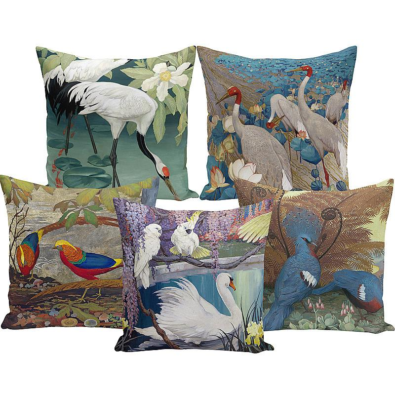 Vintage oil painting flamingo swan crane crane peach pillowcase pillow home hotel decoration fabric sofa cushion cover