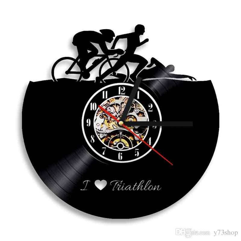 Antique Vinyl Record Wall Clock Bike Design 3D Digital Wall Clock Wall Art Decor Handmade Art Personality Gift (Size: 12 inches, Color: Bla