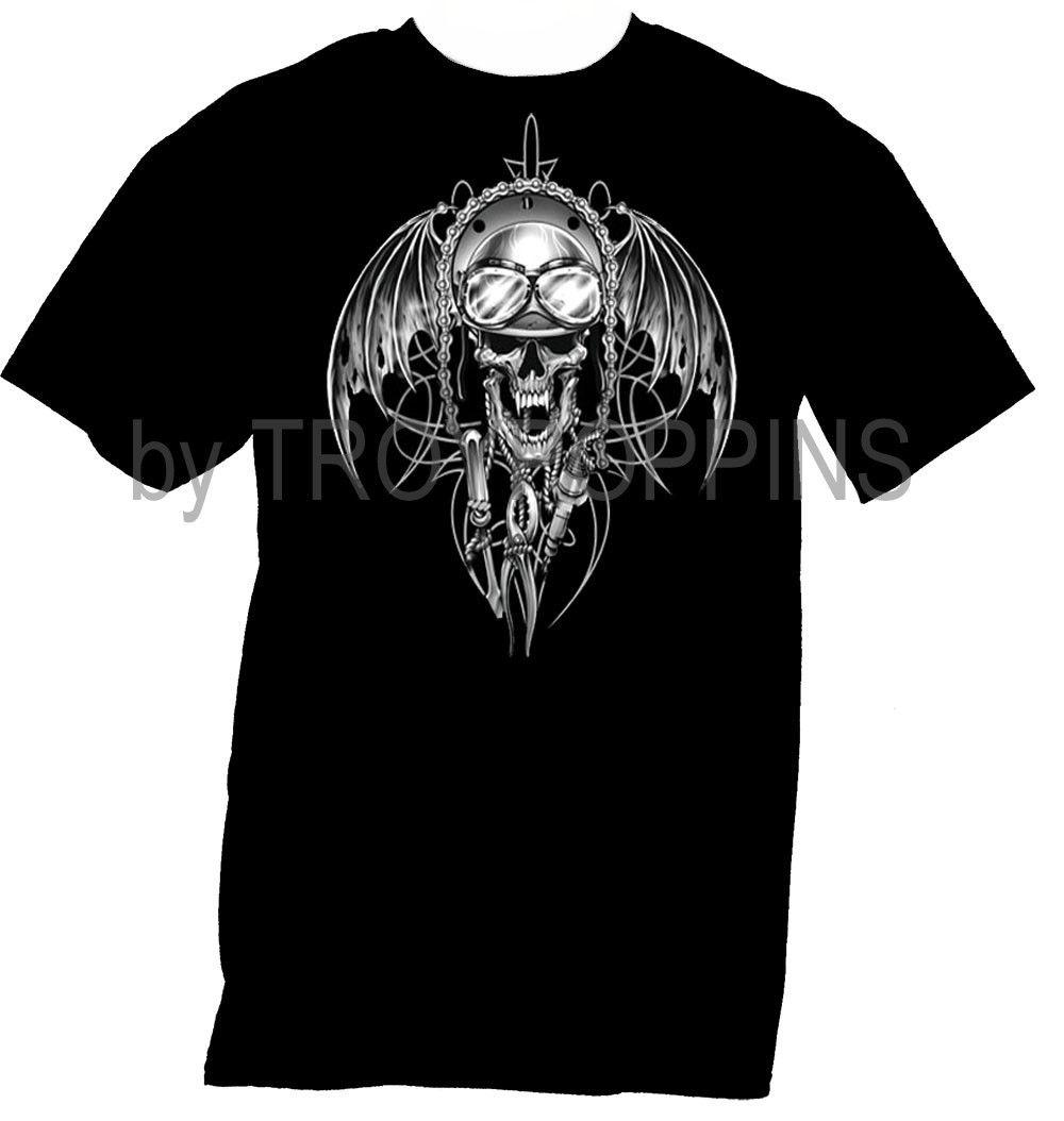 1 Demon Rider Tattoo Ghost Skull Tools Motorcycle Gear Graphic