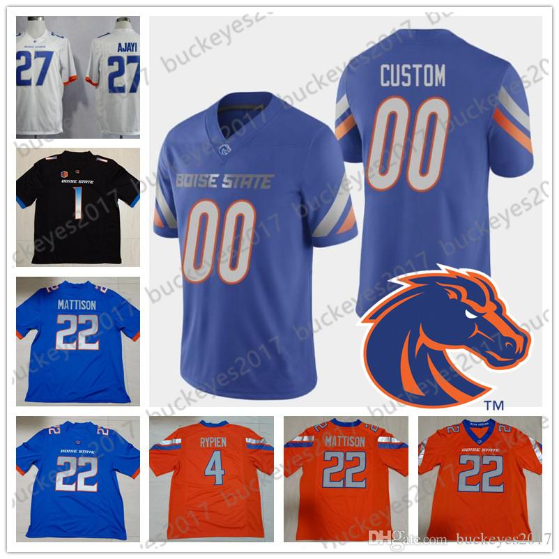 c4d66f814b2 2019 Custom Boise State Broncos #4 Brett Rypien 22 Alexander Mattison  Vander Esch Any Name Number White Orange Black Blue NCAA Football Jerseys  From ...