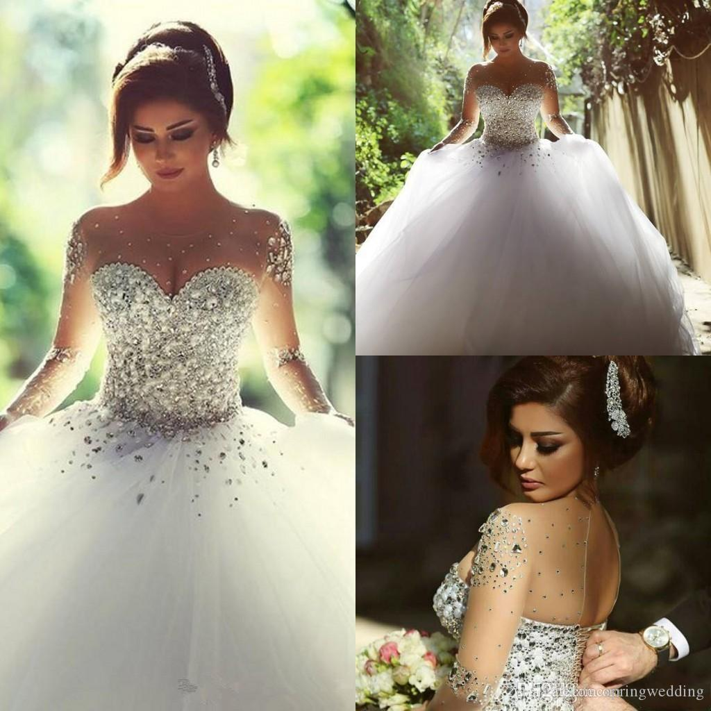dbb8eb278905 Sheer Tulle Ball Gown Wedding Dresses 2019 With Illusion Long Sleeves Crew  Neck Lace Up Back Sequins Beaded Pearl Pretty Bridal Gowns BO7695 Ball  Wedding ...