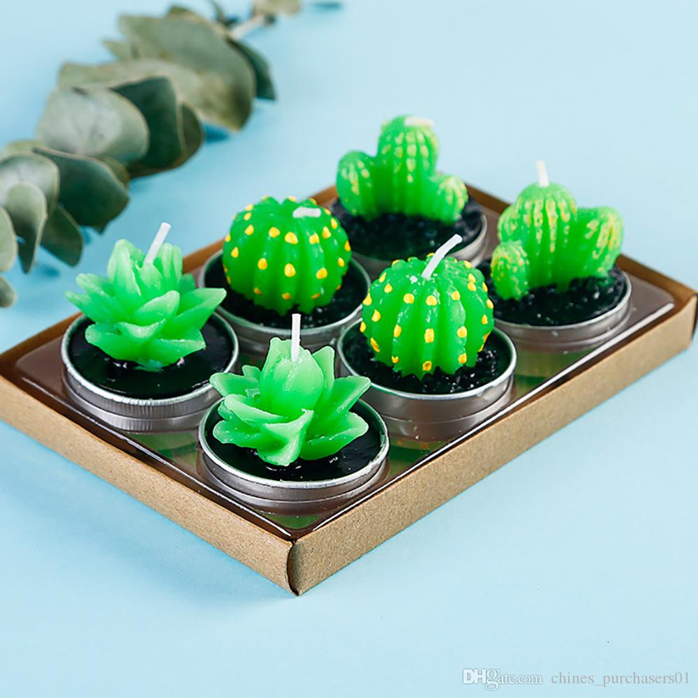 Creative 6pcs Non-spill Cactus Candle Decorative Tea Light Candles for Xmas  Party Hallowmas Wedding Decoration Birthday Candles